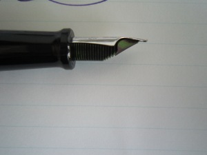 The Cassia ink appears green on the ebonite feed.