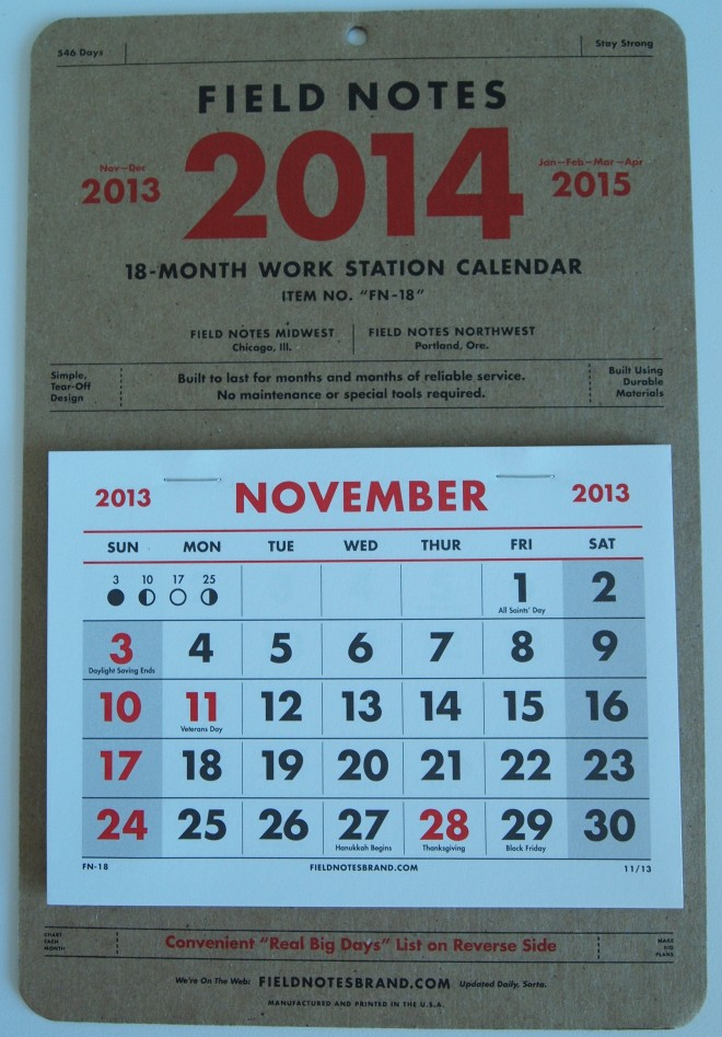 Field Notes 18-Month Work Station Calendar (front)