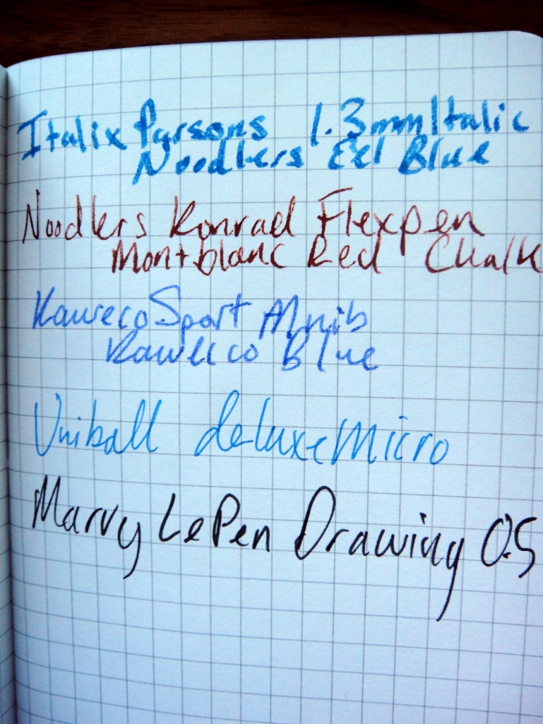 Notice the fountain pen ink resisting the paper.