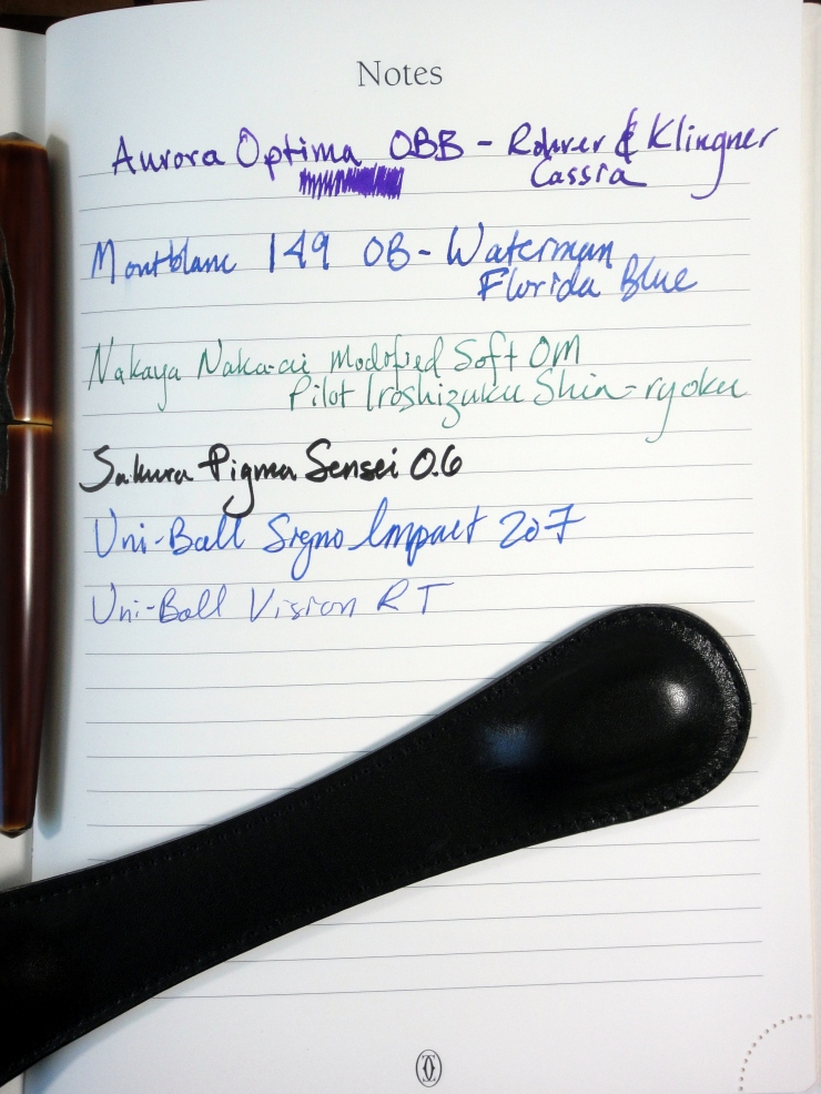 The thick pages work will with fountain pen ink.
