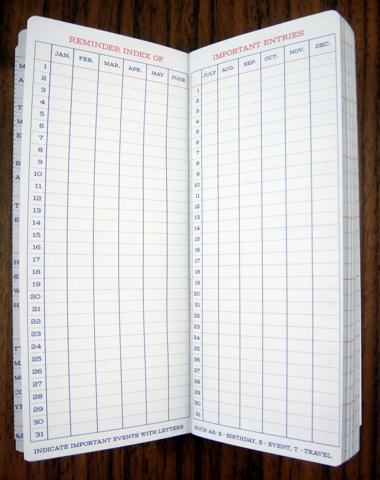 Also up front is an index with a cell for each day of the year so that you can mark important events.