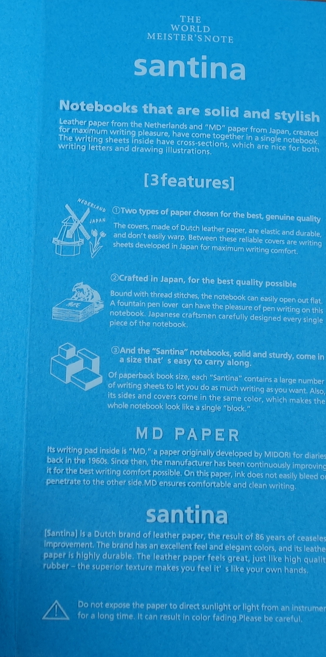 "midori world meister s note vol ""santina"" notebook review the  the plastic wrapper includes details on the notebook"