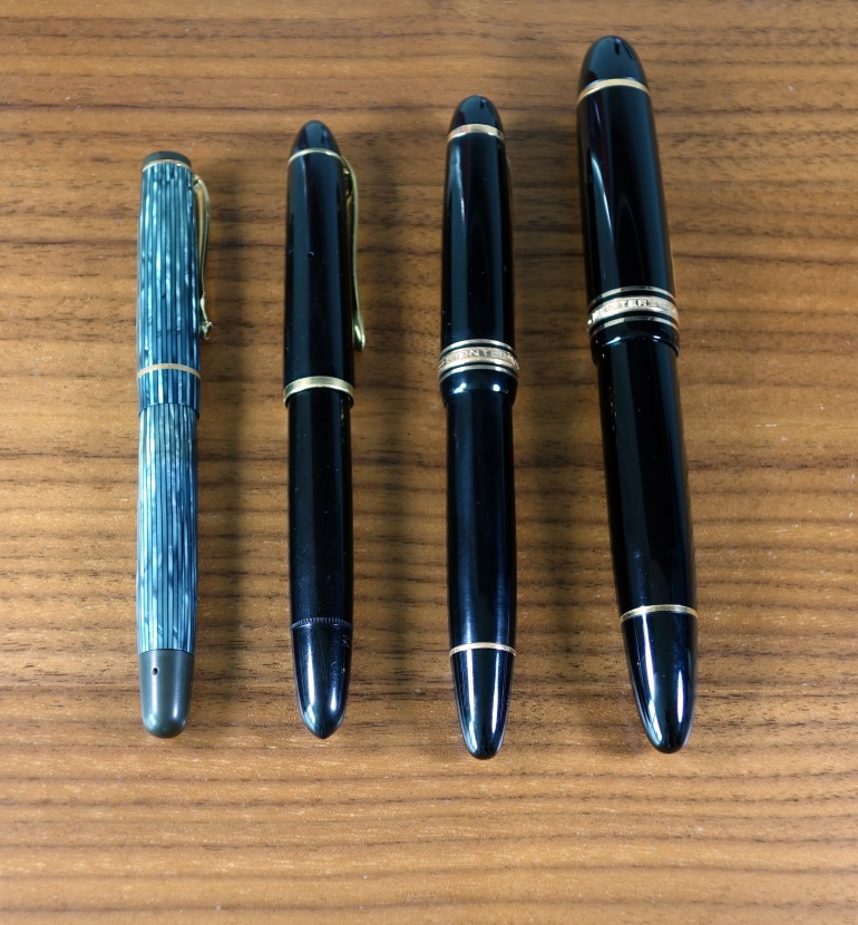 Left to right: Soennecken 103, Geha 790, Montblanc 146 (early 50s), Montblanc 149 (1972)