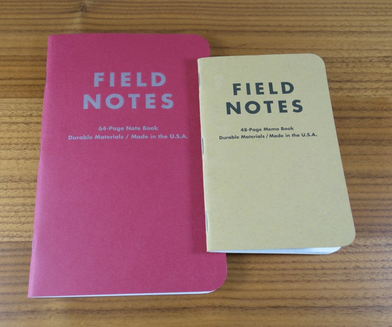 The Arts Field Notes notebook next to a normal sized Field Notes