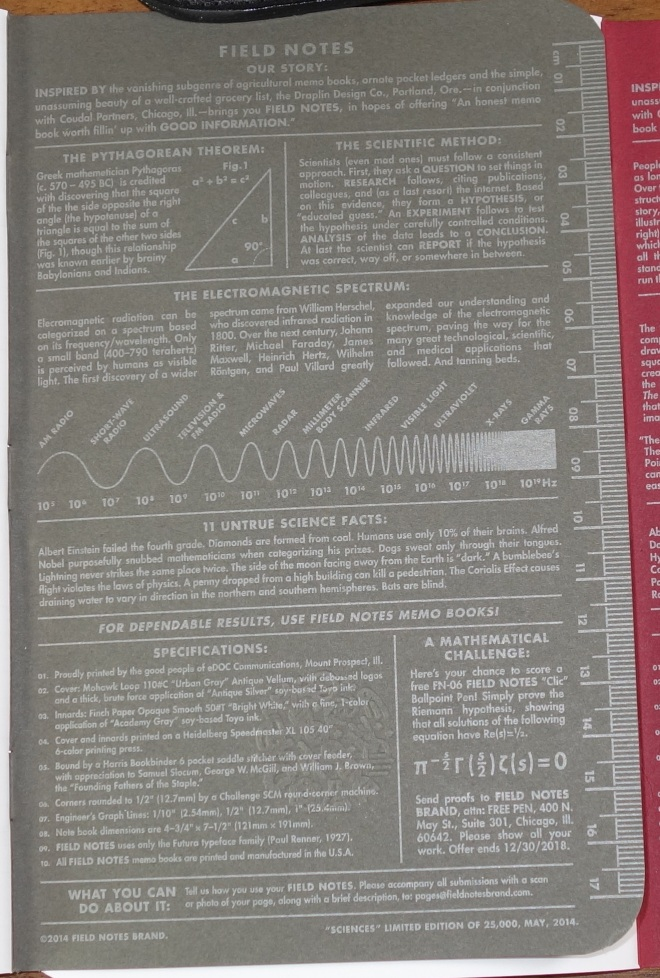 Sciences inside front cover.