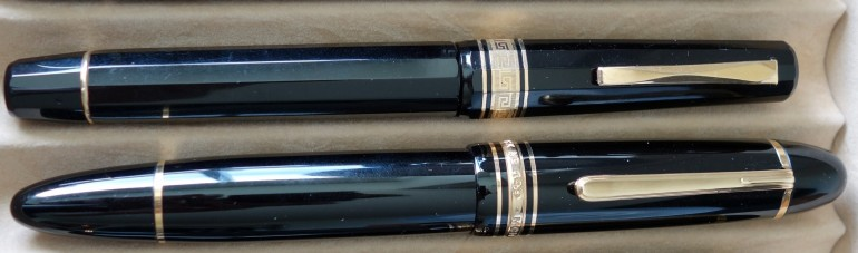 I did not realize until after I took the picture that the OMAS pictured beside the Montblanc 149 isn't the 1990s Paragon in all the other pictures...its an older 1960s celluloid version.  The size is identical though.