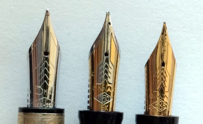 "Left to right: 1) Bock made 18kt gold, 2) OMAS made 18kt gold, 3) OMAS made 14kt gold ""Extra Lucens"" from the 1960s"