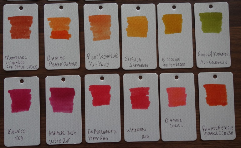 Orange and red Fountain Pen Ink Samples