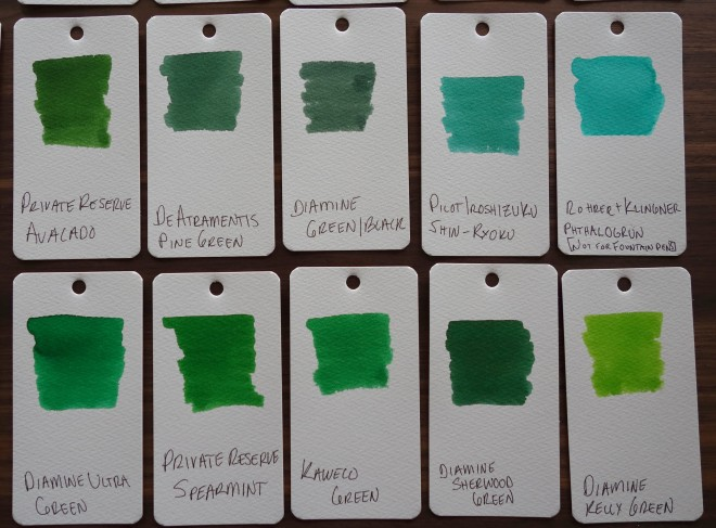 Green Fountain Pen Ink Samples
