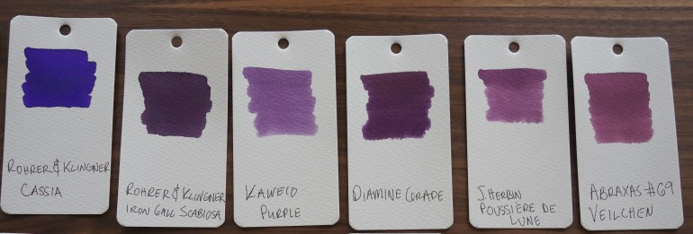 Purple Fountain Pen Ink Samples