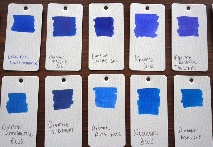 Blue Fountain Pen Ink Samples