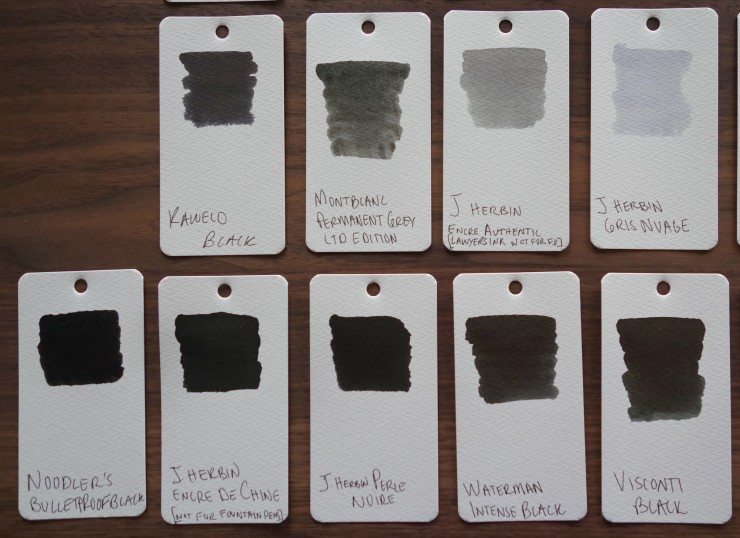 Black and gray Fountain Pen Ink Samples