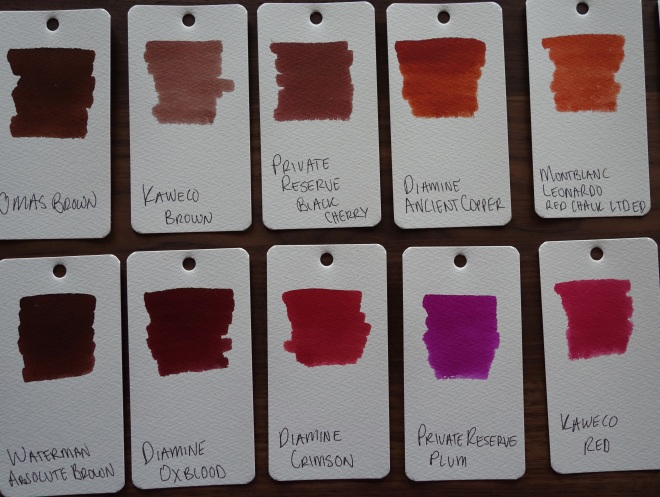 brown Fountain Pen Ink Samples