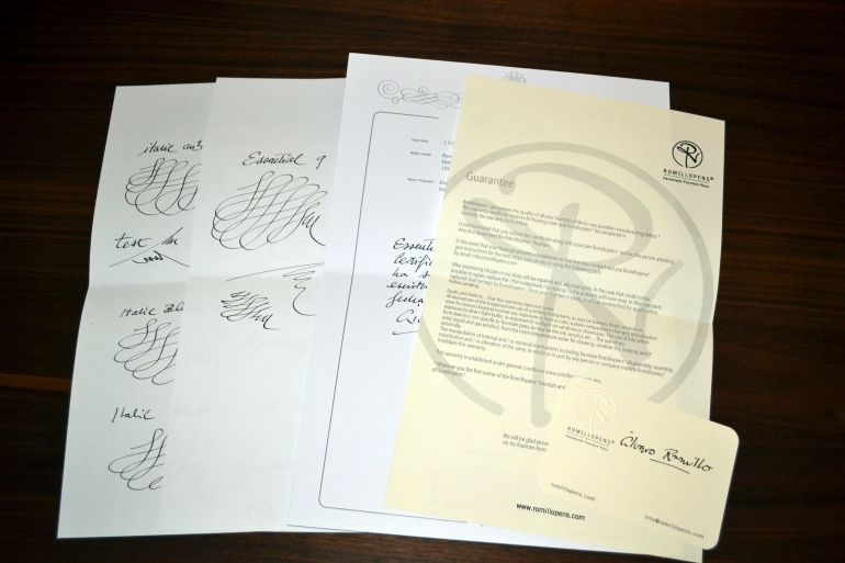 Warrant information, certificate with all the pens information, and two nib test pages.