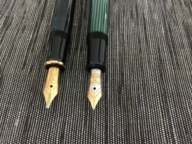 Pelikan M600 and Pelikan M400 with rare 12C HEF nib .