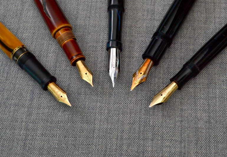 Left to right: Aurora Afrika, Nakaya Naka-ai, Romillo Essential #9, Montblanc 149, Soennecken 1 Extra