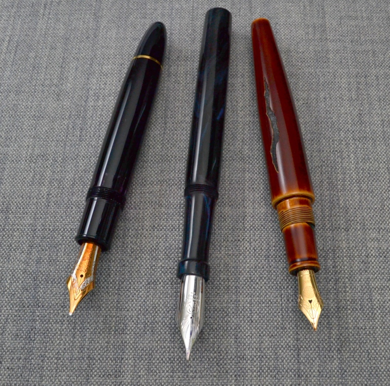 Left to right: Montblanc 149, Romillo Essential #9, Nakaya Naka-ai