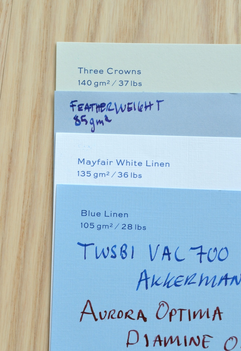 Out of all the writing papers my four favorites are the ones I find to be the most unique.  Three Crowns for it's interesting but subtle color, Featherweight for it's beautiful watermark, and Mayfair White Linen and Blue Linen for their interesting finish.