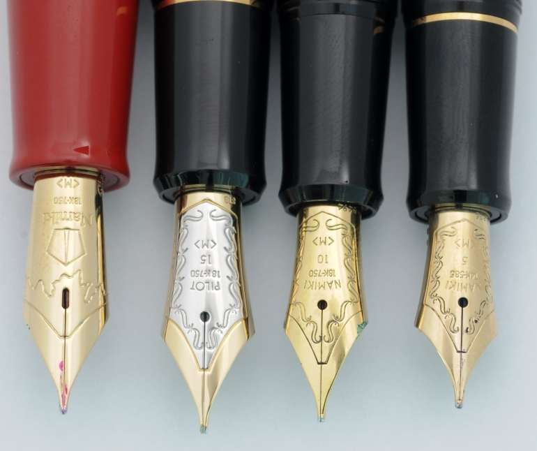 Nibs left to right: Pilot/Namiki #20, #15, #10, #5